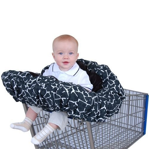 Floppy Seat Deluxe Velboa Shopping Cart and High Chair Cover with Messenger Bag, Black Giraffe (Discontinued by Manufacturer)