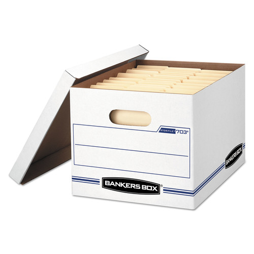Bankers Box FEL00703 STOR/FILE Storage Box, Letter/Legal, Lift-off Lid, White/Blue, 12/Carton