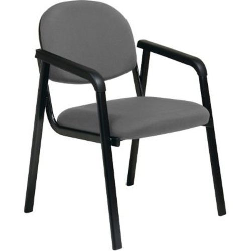 Office Star WorkSmart Fabric Guest Chair with Designer Plastic Shell Back, Gray