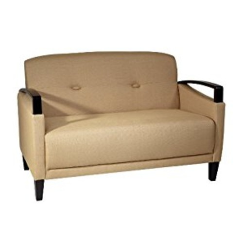 AVE SIX Main Street Loveseat with Interlace Weave Fabric and Espresso Finish Wood Accents, Wheat [Woven Wheat]