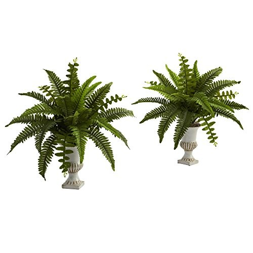 Nearly Natural Boston Fern with Urn (Set of 2)