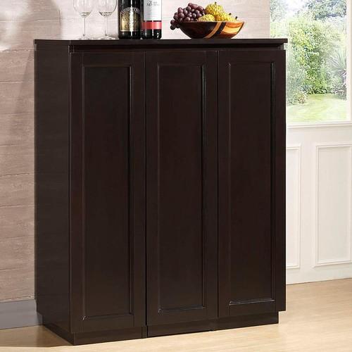 Baxton Studio Baltimore Traditional Dark Brown Wood Wine Cabinet