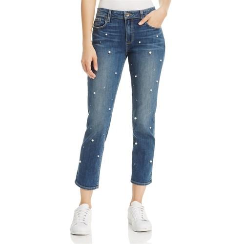 PAIGE Brigitte Slim Boyfriend Crop Jeans In Allover Pearl