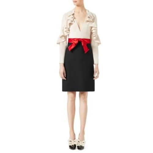 GUCCI Ruffle-Sleeve Silk & Wool Bow Dress