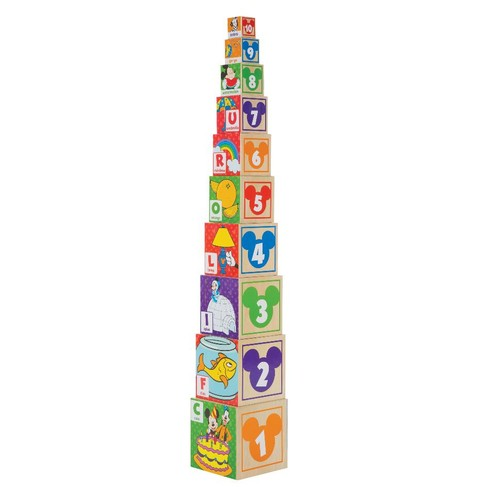 Melissa & Doug Mickey Mouse & Friends ABC and 123 Nesting and Stacking Blocks - 10 Block