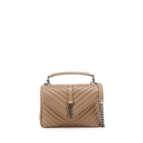 SAINT LAURENT Monogram Boyfriend Medium Satchel Bag, Taupe
