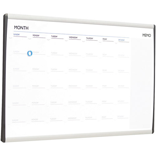 Quartet Arc Frame Magnetic Dry-Erase One Month Calendar, 30 x 18 Inches, Aluminum Frame (ARCCP3018) : Dry Erase Boards : Office Products