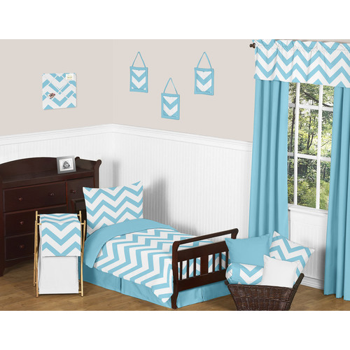 Sweet Jojo Designs Turquoise and White Chevron Collection 5pc Toddler Bedding Set