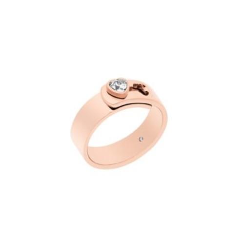 Modern Brilliance Crystal Heart Ring/Rose Goldtone