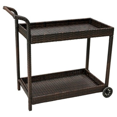 Savona Wicker Outdoor Serving Cart - Brown - Christopher Knight Home