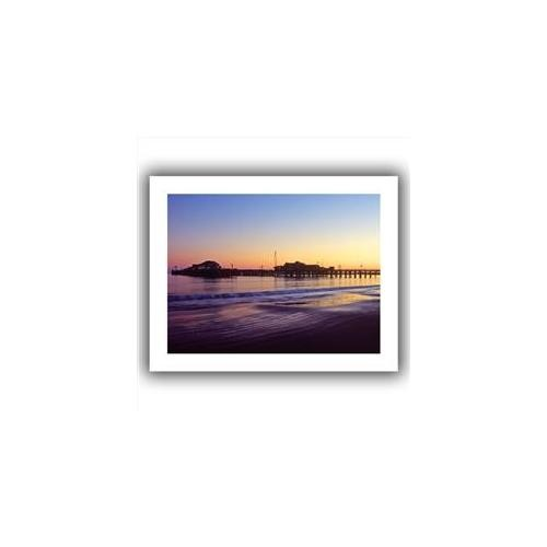 Artwal Santa Barbara Pier at Sunset Unwrapped Canvas Art by Kathy Yates, 24 x 32 Inch