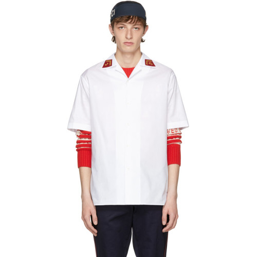 GUCCI White Saturn Bowling Shirt