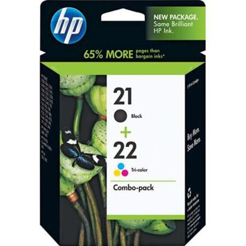 HP 21/22 Combo-Pack, Black/Tricolor Inkjet Cartridges C9509FN