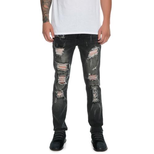 The Port Distressed Skinny Jeans in Black Denim
