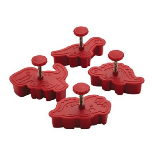 CakeBoss Decorating 4-Piece Dinosaur Fondant Press Set in Red