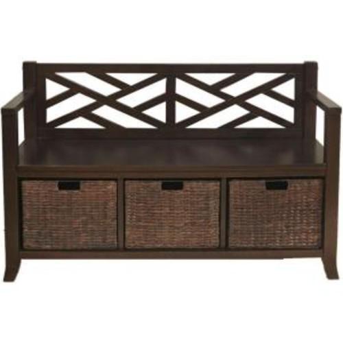 Simpli Home Adrien Espresso Brown Storage Bench