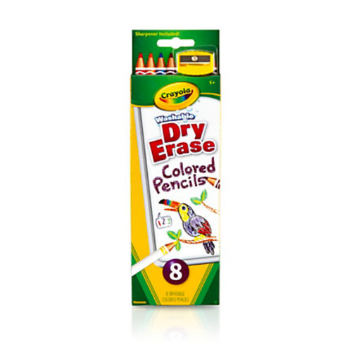 Crayola Dry-Erase Colored Pencils, Assorted Colors, Pack Of 8