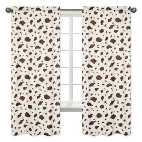 Sweet Jojo Designs Wild West Cow Print 84-Inch Window Panels in Brown/White (Set of 2)