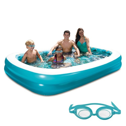 Blue Wave Products 3D Inflatable Rectangular Family Pool - 103 inch x 69 inch