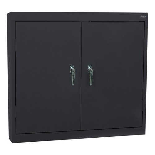 Sandusky Lee Welded Steel Wall Cabinet  Solid Doors, 36in.W x 12in.D x 30in.H, Black, Model# WA22361230-09