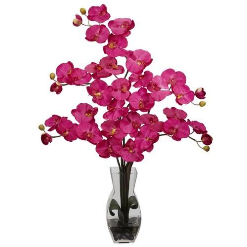Nearly Natural Phalaenopsis with Vase Silk Flower Arrangement Beauty 1191-BU