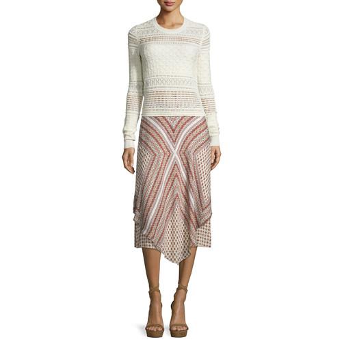 DEREK LAM 10 CROSBY Long-Sleeve Mixed-Knit Top, Ivory