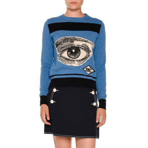 STELLA MCCARTNEY Eye Intarsia Crewneck Sweater, Blue