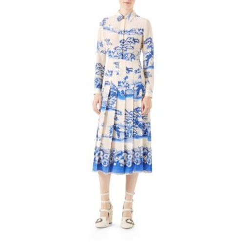 GUCCI Porcelain Print Silk Dress