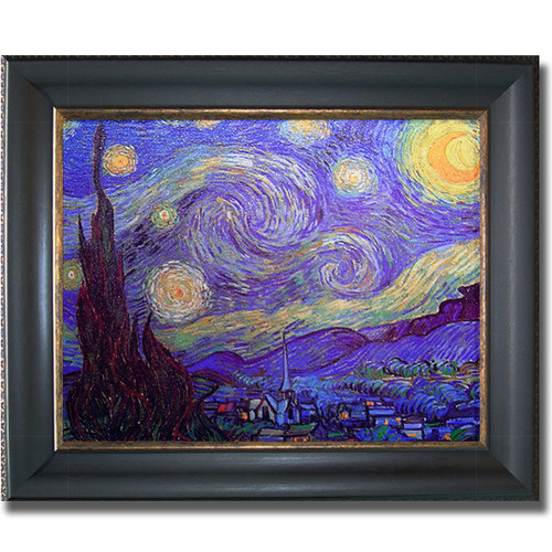 Vincent Van Gogh 'Starry Night' Horizontal Framed Canvas Art - Multi