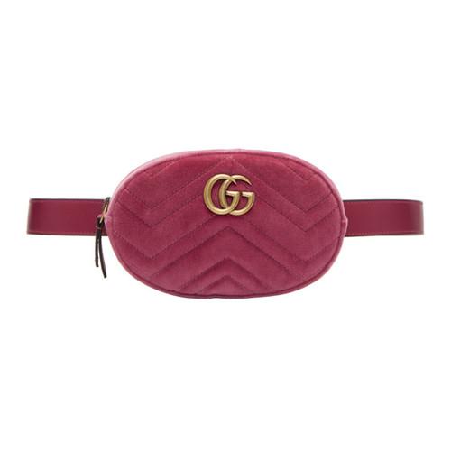 GUCCI Pink Velvet Gg Marmont Matelassé Belt Bag