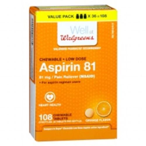 Walgreens Low Dose Aspirin 81 mg Chewable Tablets Orange