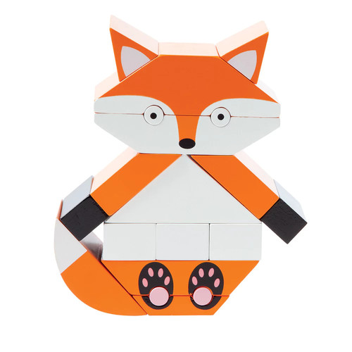 Manhattan Toy Red The Fox Magnetic Wooden Stacking Blocks