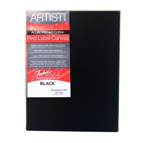 Fredrix 9in x 12in Red Label Black Stretched Cotton Canvas 4/Pack (91071-PK4)