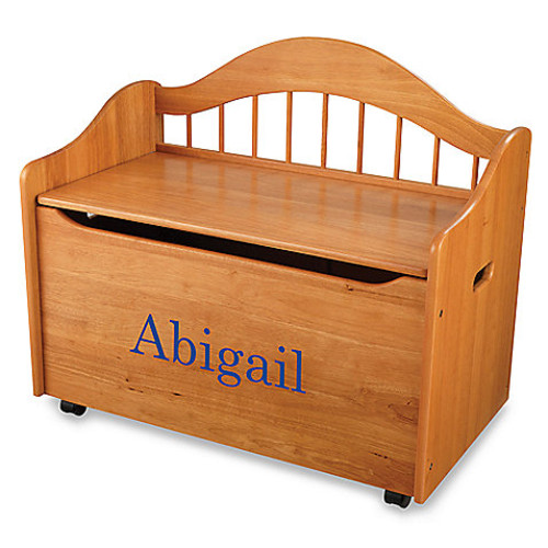 KidKraft Personalized Girl's Toy Box in Honey with Blue Library Font
