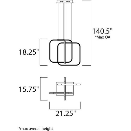 Squared 3-light LED Polished Chrome Single Pendant Light