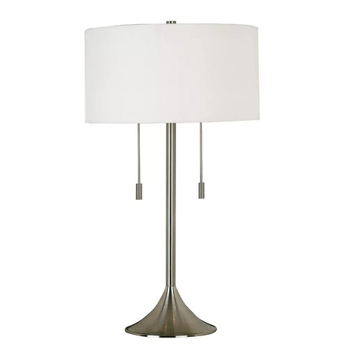 Kenroy Home Stowe 30 Inch Table Lamp In Brushed Steel Finish With A White Textured Drum Shade [Steel]