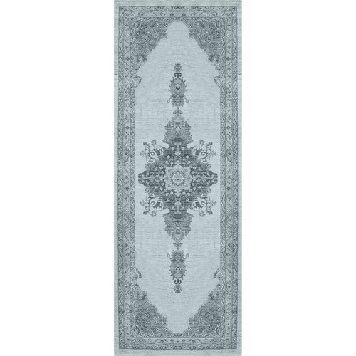 Ruggable Washable Parisa Blue 2 ft. 6 in. x 7 ft. Stain Resistant Runner