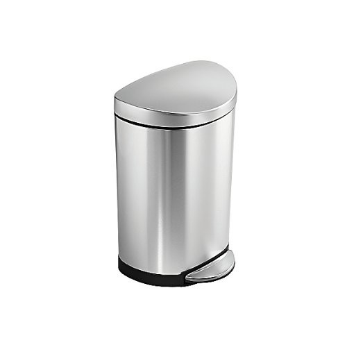 simplehuman 10 Liter / 2.3 Gallon Stainless Steel Small Semi-Round Bathroom Step Trash Can, Brushed Stainless Steel [Brushed]