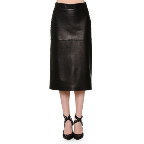 VALENTINO Leather Pencil Skirt W/Studded Sides, Black