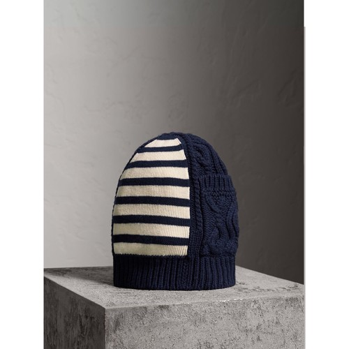 Cable Knit Striped Wool Cashmere Blend Beanie