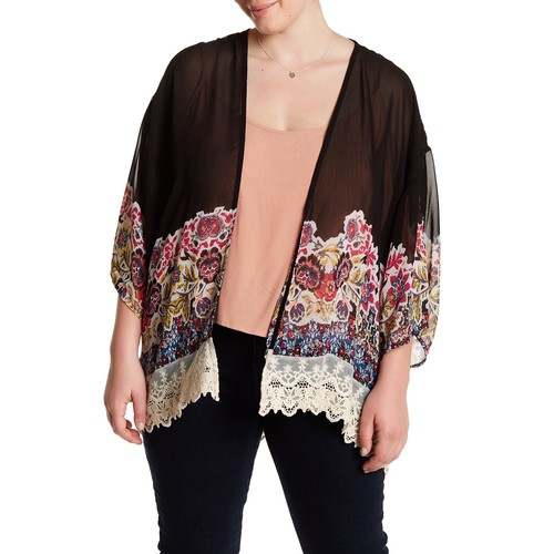 Floral Crochet Trim Kimono (Plus Size)