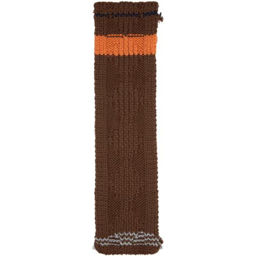 PRADA Brown Chunky Cable Knit Zig Zag Scarf