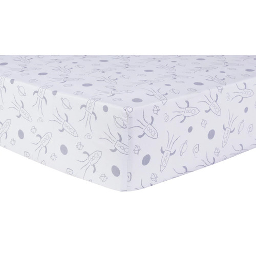 Trend Lab Fitted Crib Sheet - Galaxy - Gray