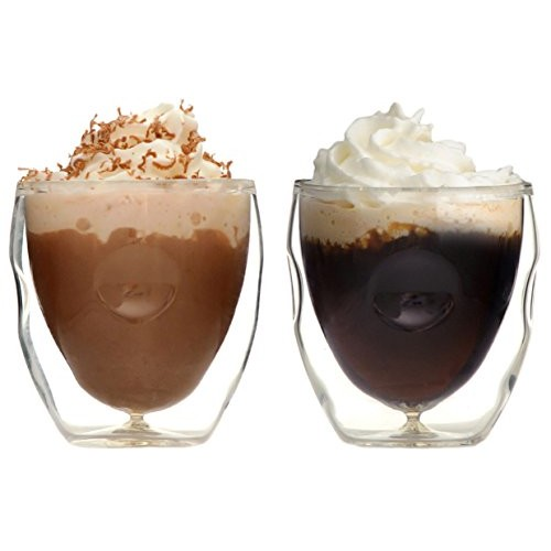 Ozeri Moderna Artisan Series Double Wall Beverage and Espresso Shot Glasses, 2-Ounce, Set of 2 [Set of 2]