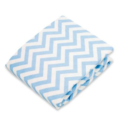 kushies Flannel Portable Play Pen Fitted Sheet in Chevron Blue