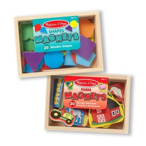 Melissa & Doug Wooden Magnets Set - Shapes and Farm (45pc)