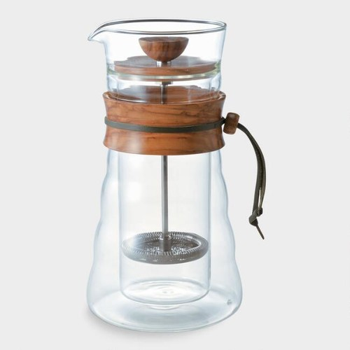 Hario Olive Wood Double Glass French Coffee Press