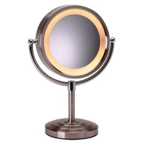 SEE ALL 8-1/2 in. x 15 in. Round Lighted 5X Magnification Pedestal Makeup Mirror in Nickel