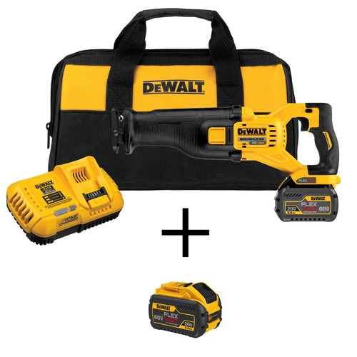 DEWALT FLEXVOLT 60-Volt MAX Lithium-Ion Cordless Brushless Reciprocating Saw with Battery 2Ah, Charger and Bonus Battery 3Ah