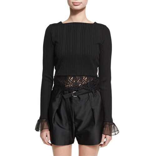 3.1 PHILLIP LIM Long-Sleeve Rib-Knit Cropped Top W/ Lace, Black